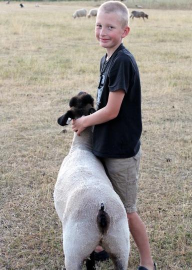 Garrett with his fair lamb Jane