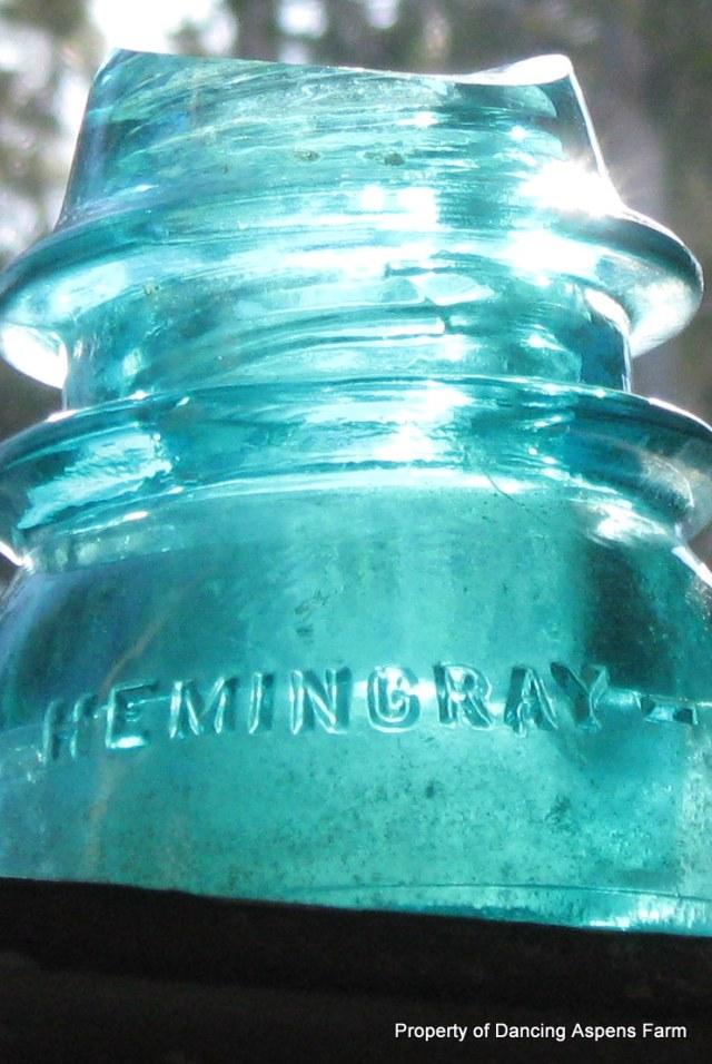 Hemingray # 42 glass insulator in the windowsill...