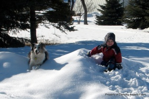 Bellah and Teigen playing in the snow...