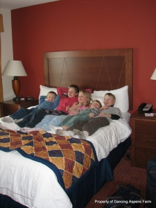 Kids relaxing at the motel...