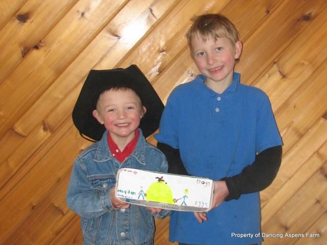 Hayden and Garrett's Farmer Boys Eggs...