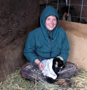 Me warming the lamb...
