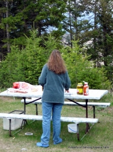 Getting the picnic table ready...