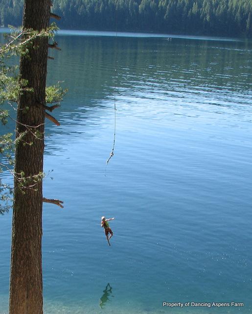 Garrett going off the rope swing...