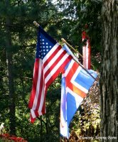 The American Flag with Icelandic Flag at the VAI course for Icelandic sheep